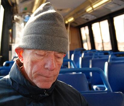 man on bus